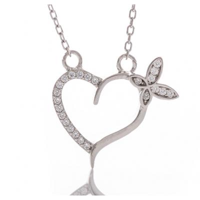 Сребърно колие Сърце с пеперуда