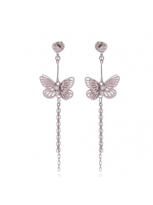 Висящи сребърни обеци Пеперудки
