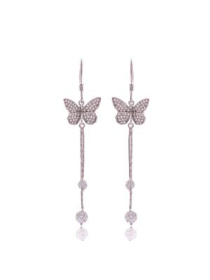 Висящи сребърни обеци Пеперуди