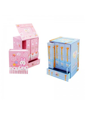 "Фотоалбум ""Бебе"" 4 броя в кутия с чекмедже - розов или син"