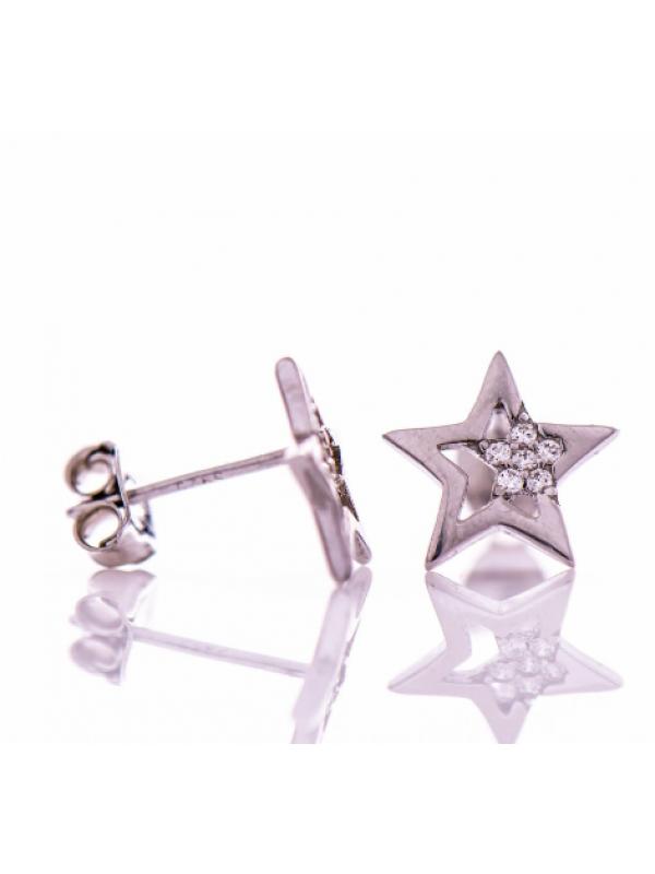 Сребърни обеци Звездички с циркони
