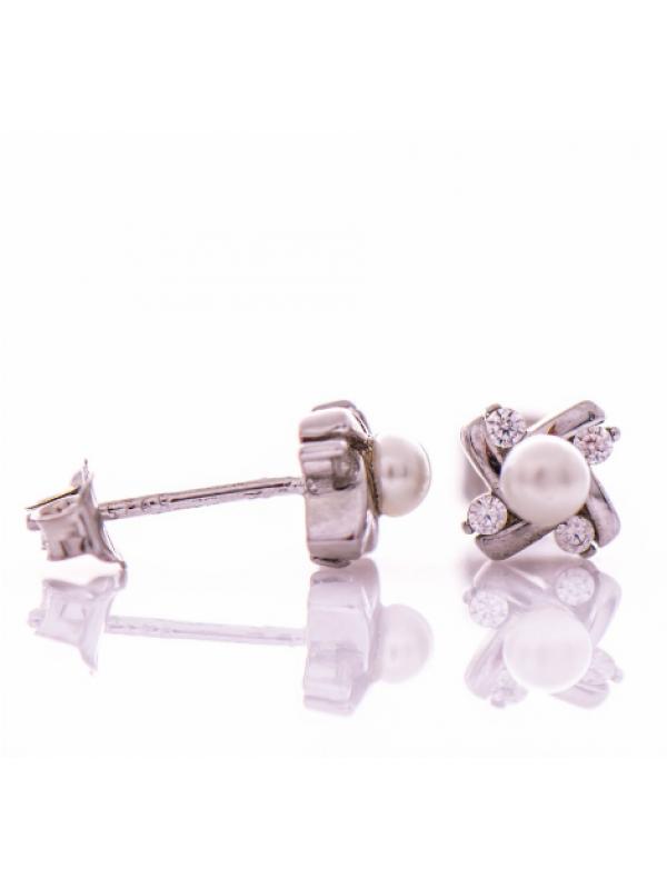 Сребърни обеци Перла