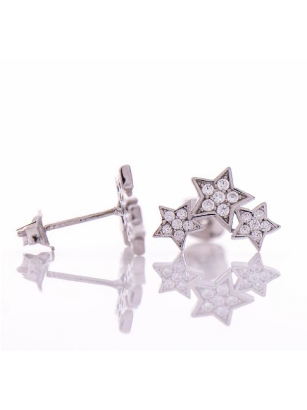 Сребърни обеци Три звезди
