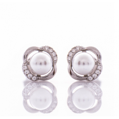 Сребърни обеци Перлички