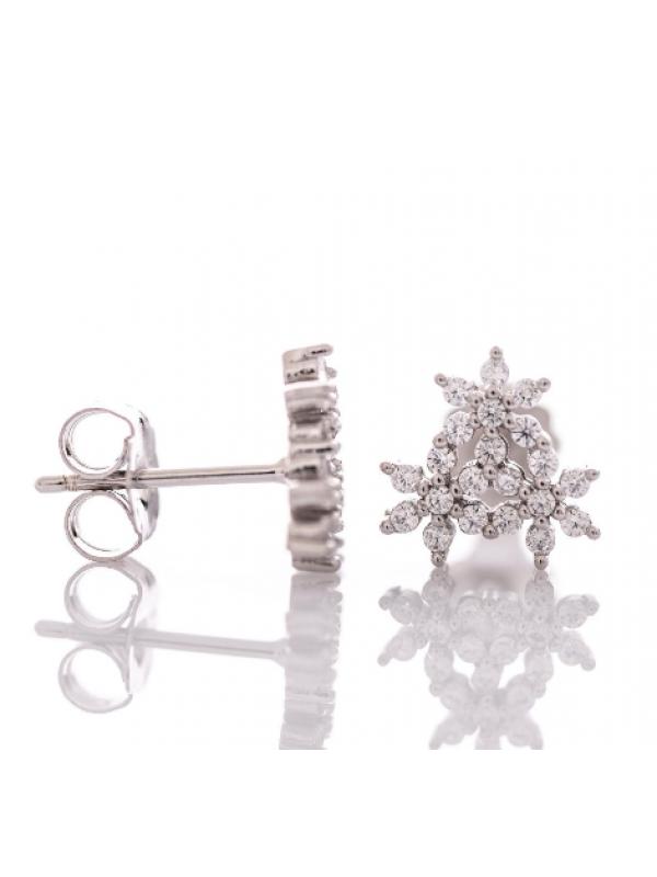 Сребърни обеци Цветя с циркони