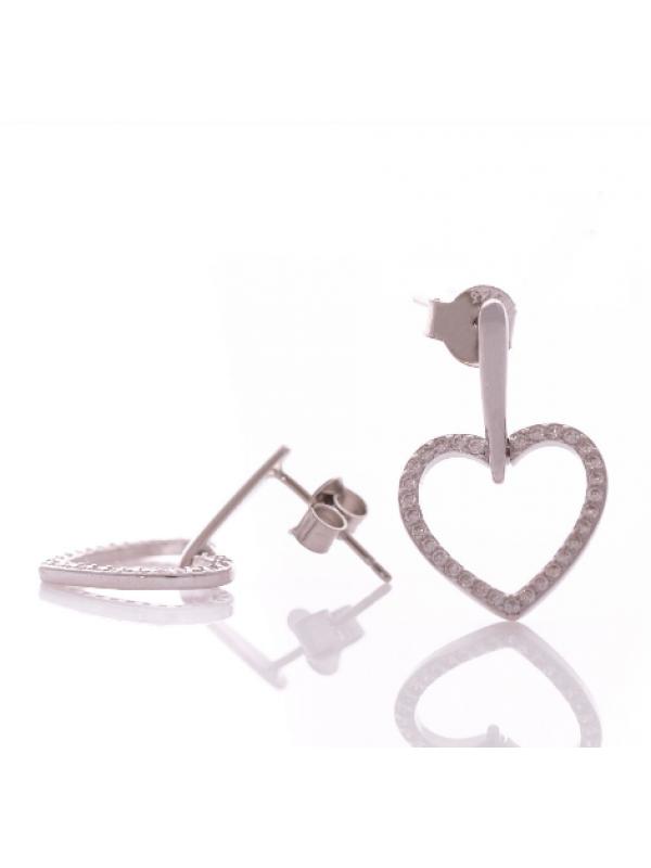 Висящи сребърни обеци Сърца
