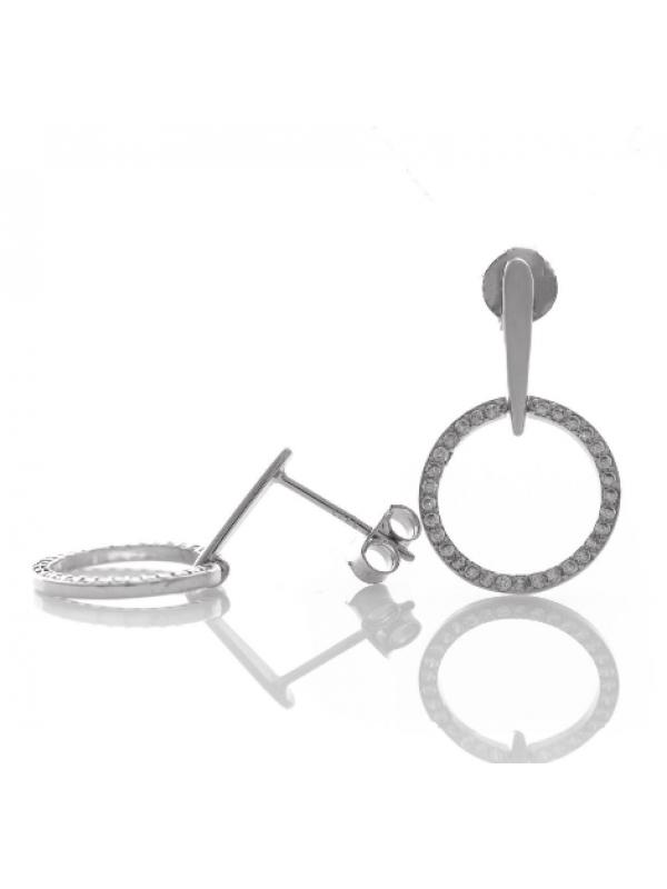 Висящи сребърни обеци Кръгове