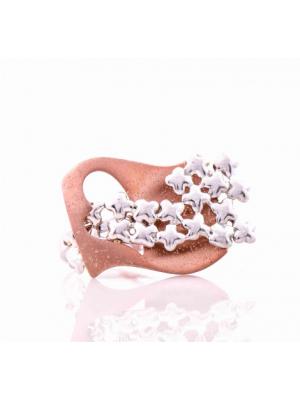 Сребърен пръстен Сърце с родирано розово сребро