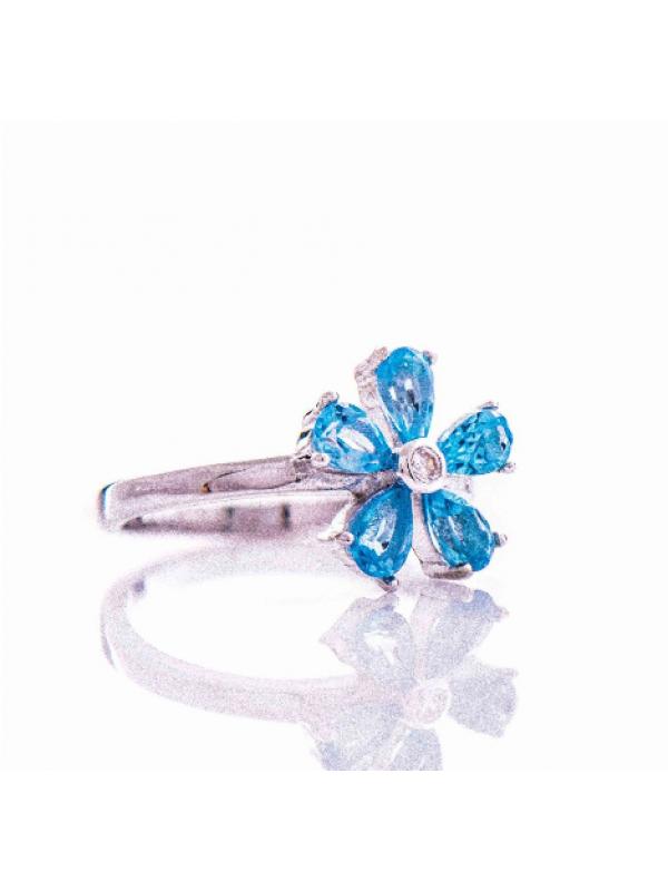 Сребърен пръстен Естествен син топаз