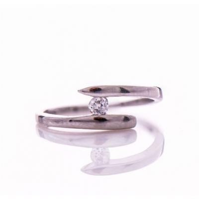 Сребърен пръстен Спирала с циркон