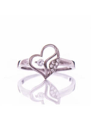 Сребърен пръстен Сърце