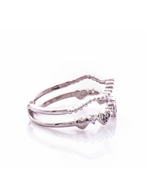 Сребърен пръстен Сърца двоен