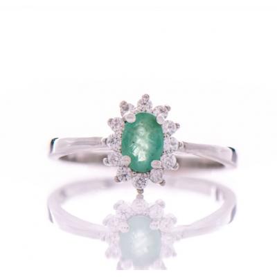 Сребърен пръстен Естествен изумруд
