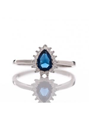 Сребърен пръстен капковиден Сапфир