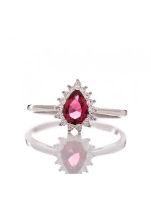 Сребърен пръстен капковиден Рубин