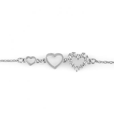 Сребърна гривна Сърца 148