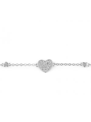 Сребърна гривна Сърца 149