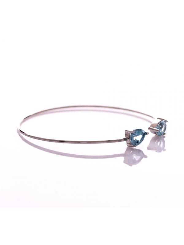 Сребърна гривна Естествен син топаз 2,20ct. 174
