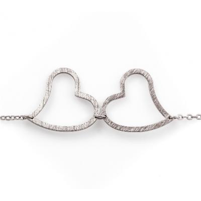 Сребърна гривна Сърца 63