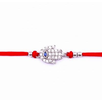 Сребърна гривна с червен конец Ръката на Фатима