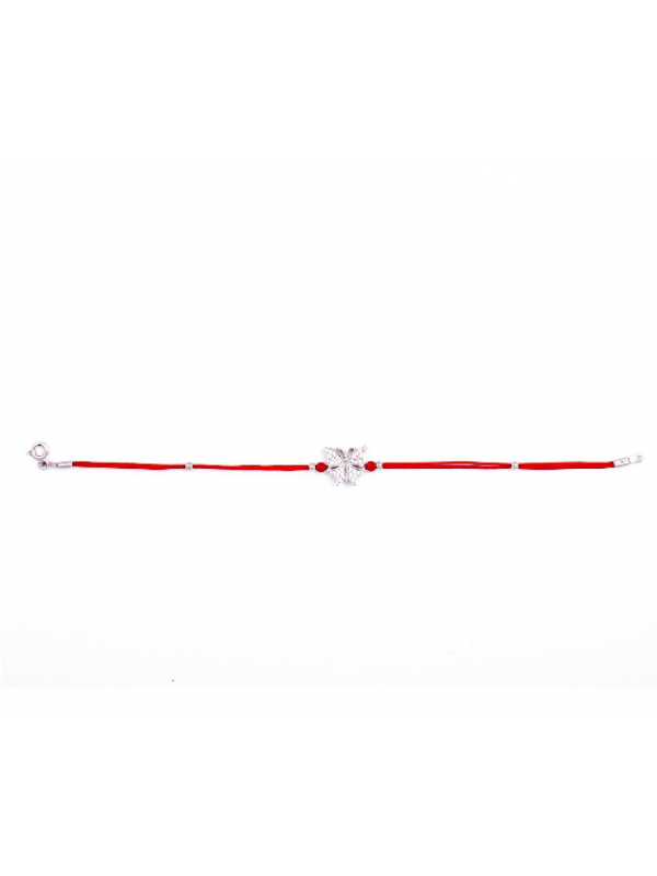 Сребърна гривна с червен конец Пеперуда
