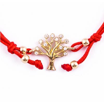 Златна гривна с червен конец Дървото на живота 137