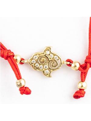Златна гривна червен конец Ръката на Фатима 144