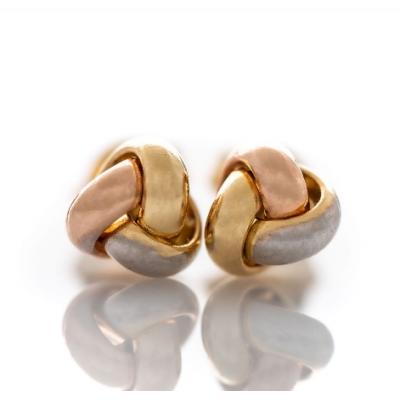 Златни обеци Три цвята 552