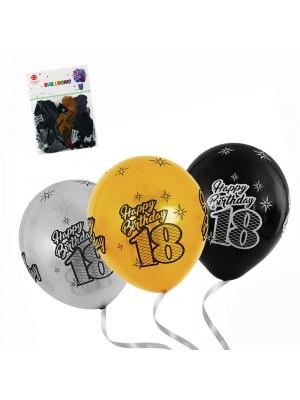 "Балони ""Happy Birthday 18-th"" - 10 броя"