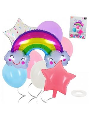 "Комплект балони ""Дъга и звезди"" 8 броя"
