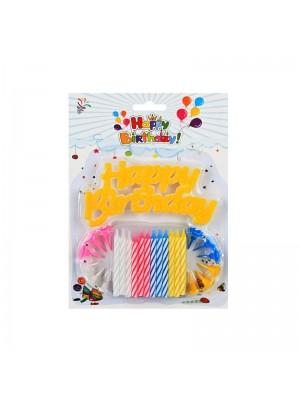 """Свещички """"Happy Birthday"""" 12 броя"""
