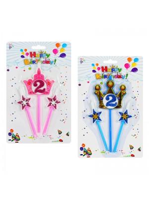 """Комплект свещи за рожден ден """"Корона и звезди"""""""