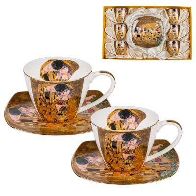 Комплект 6 чаши + 6 чинии за кафе Целувката