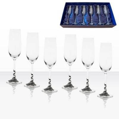 Комплект чаши за шампанско с декорация грозд