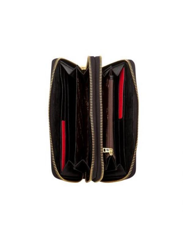 Дамско портмоне - черно черти