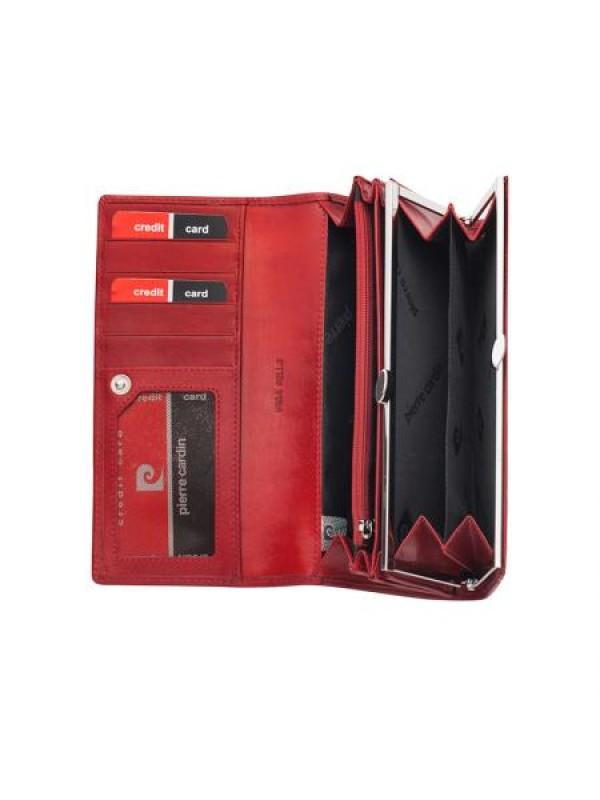 Дамско портмоне червено от естествена кожа
