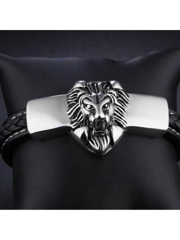 Мъжка гривна с лъв - голяма с включено гравиране