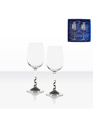 Чаши за червено вино с декорация грозд - 2 броя