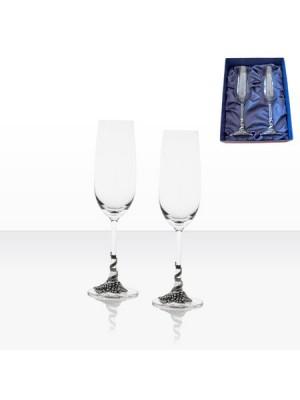 Чаши за шампанско с декорация грозд - 2 броя