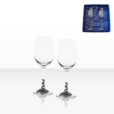 Чаши за бяло вино с декорация грозд - 2 броя