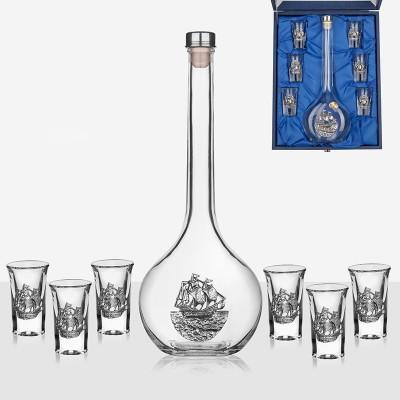 Сет бутилка и 6 чаши за аперитив с кораб