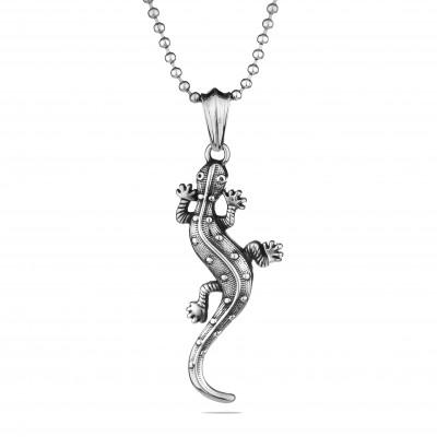 Мъжки медальон Silver Flame с гущер