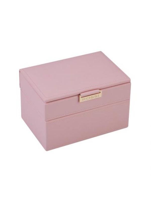 Кутия за бижута цвят пудра Rossi средна
