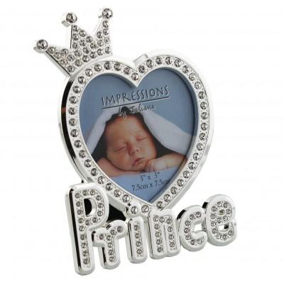 """Малка красива посребърна и кристално инкрустирана фоторамка """"Принц"""""""
