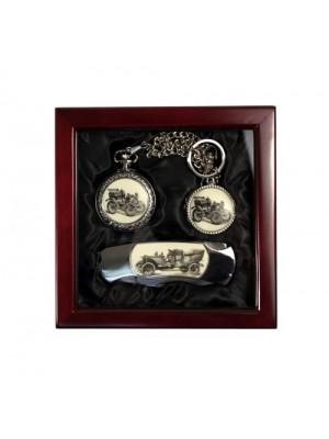 Комплект джобен часовник, ключодържател и нож Car
