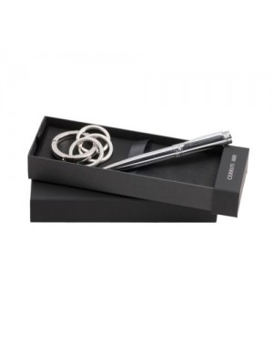 Комплект химикалка и ключодържател Zoom Silver