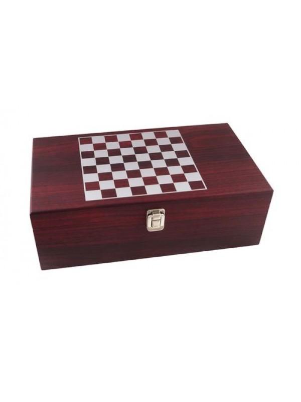 Луксозна кутия за вино с аксесоари и шах