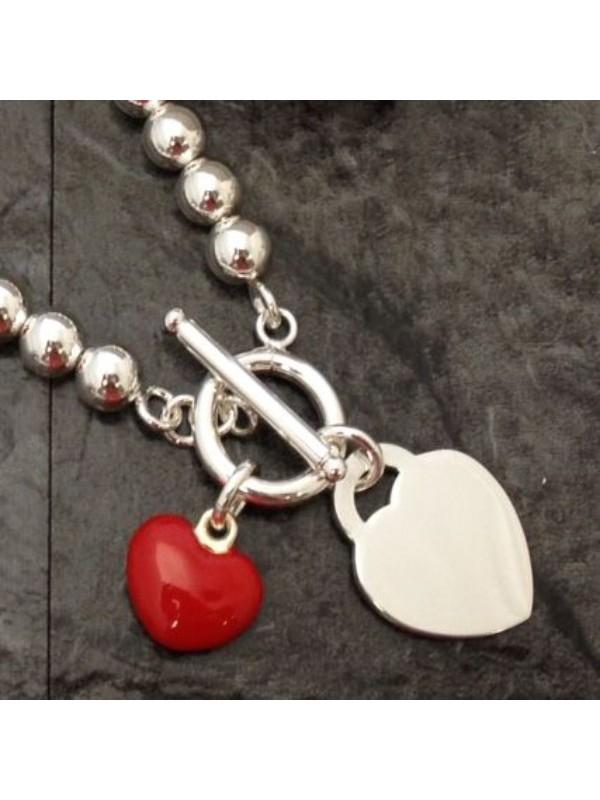 Гривна Maraca с червено сърце с възможност за гравиране