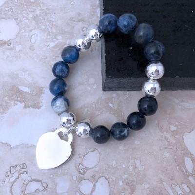 Гривна Mistique Lapis Lazuli с медальон сърце с възможност за гравиране
