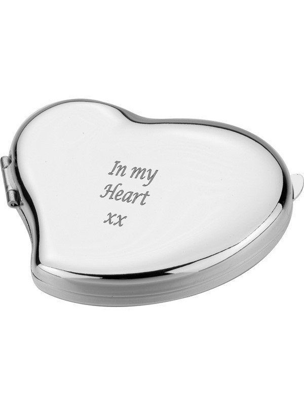 Компактно джобно огледало Heart  с възможност за гравиране